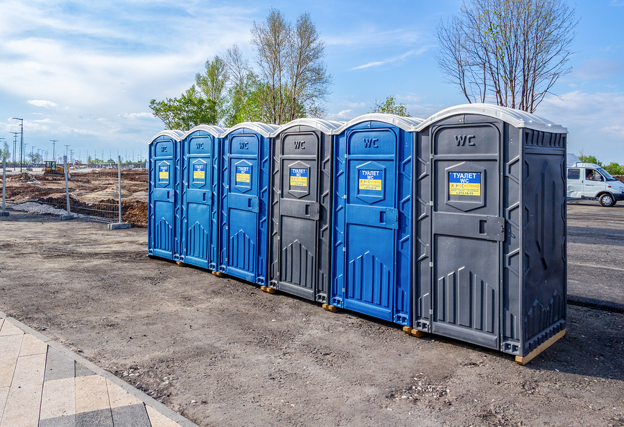 six porta rental gray and blue